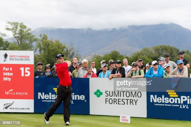 Daniel Nisbet of Australia tees off during day four of the ISPS Handa New Zealand Golf Open at Millbrook Golf Resort on March 4 2018 in Queenstown...