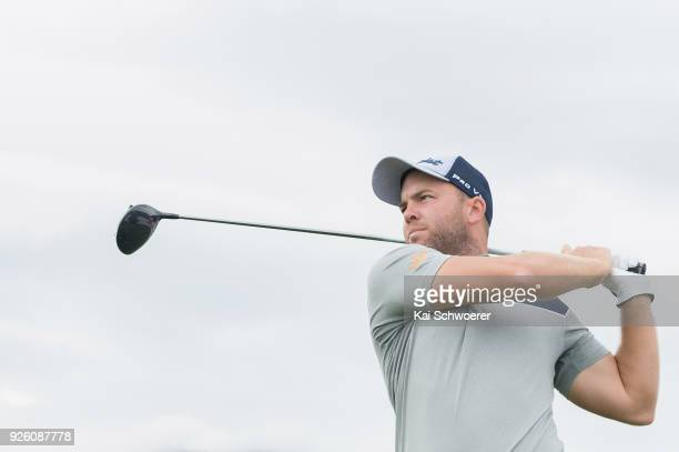 Daniel Nisbet of Australia tees off during day two of the ISPS Handa New Zealand Golf Open at Millbrook Resort on March 2 2018 in Queenstown New...
