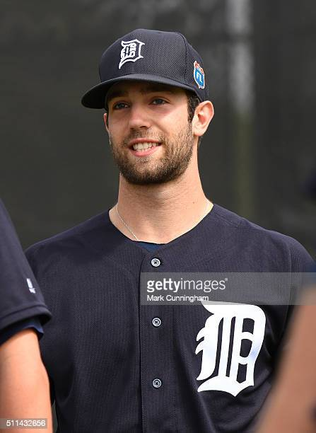 Daniel Norris of the Detroit Tigers looks on and smiles during the Spring Training workout day at the TigerTown Facility on February 20 2016 in...
