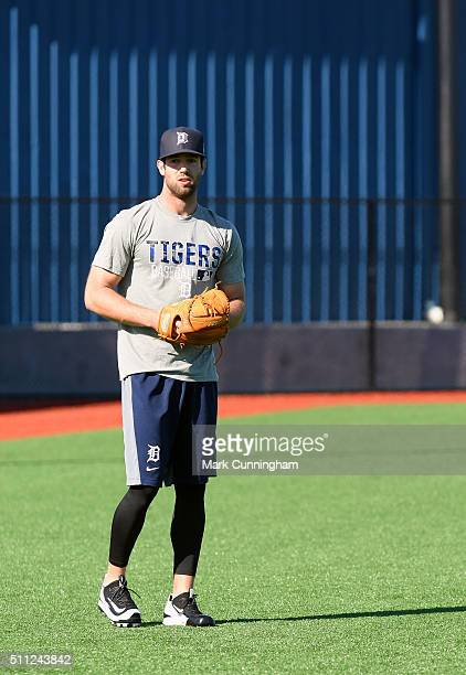 Daniel Norris of the Detroit Tigers looks on during the Spring Training workout day at the TigerTown Facility on February 18 2016 in Lakeland Florida
