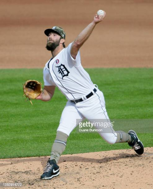 Daniel Norris of the Detroit Tigers pitches against the Chicago Cubs during the fourth inning at Comerica Park on May 15 in Detroit, Michigan.