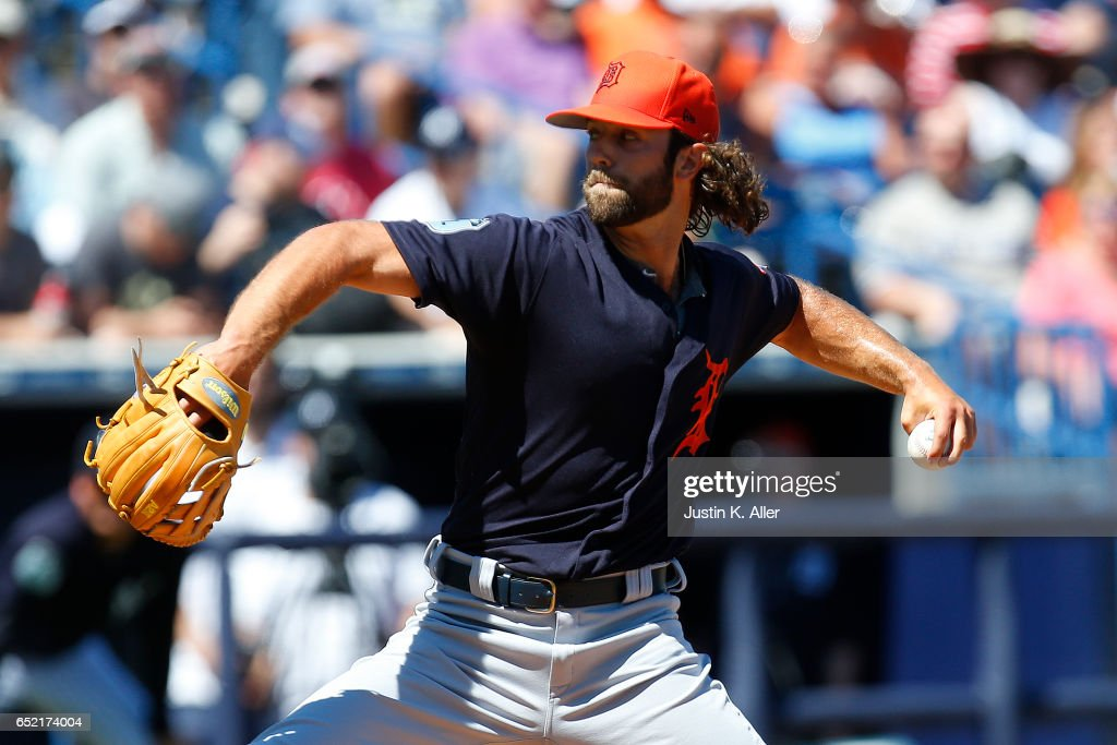 Daniel Norris #44 of the Detroit Tigers pitches in the first inning against the New York Yankees during a spring training game at George M. Steinbrenner Field on March 11, 2017 in Tampa, Florida.