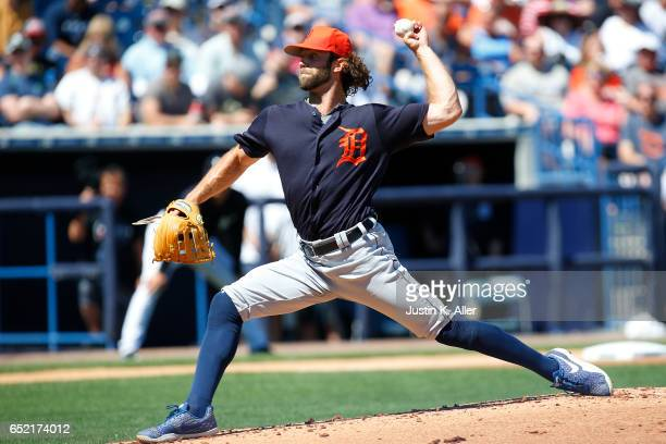 Daniel Norris of the Detroit Tigers pitches in the first inning against the New York Yankees during a spring training game at George M Steinbrenner...