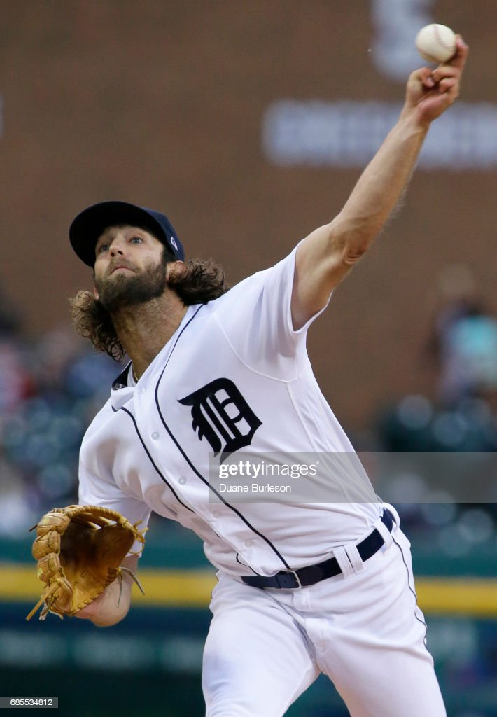 Daniel Norris #44 of the Detroit Tigers pitches in the second inning against the Texas Rangers at Comerica Park on May 19, 2017 in Detroit, Michigan.