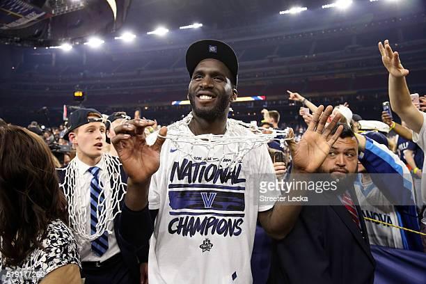 Daniel Ochefu of the Villanova Wildcats celebrates defeating the North Carolina Tar Heels 77-74 to win the 2016 NCAA Men's Final Four National...