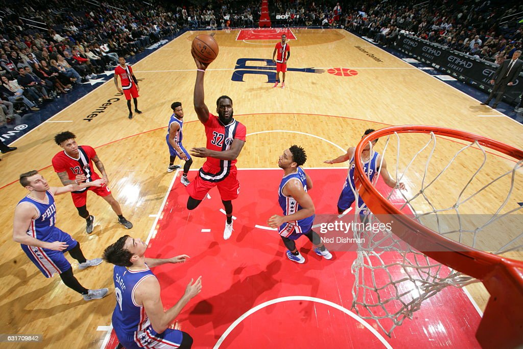 Daniel Ochefu #32 of the Washington Wizards shoots the ball against the Philadelphia 76ers on January 14, 2017 at Verizon Center in Washington, DC.