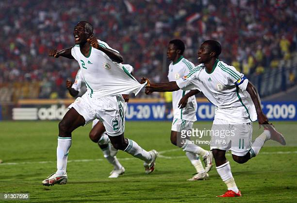 Daniel Odejo of Nigeria celebrates scoring the fifth goal during the Group B, FIFA U20 World Cup match between Tahiti and Nigeria at the Cairo...