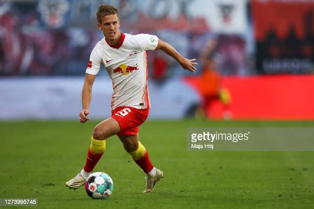 Daniel Olmo Carvajal of RB Leipzig controls the ball during the Bundesliga match between RB Leipzig and 1. FSV Mainz 05 at Red Bull Arena on...