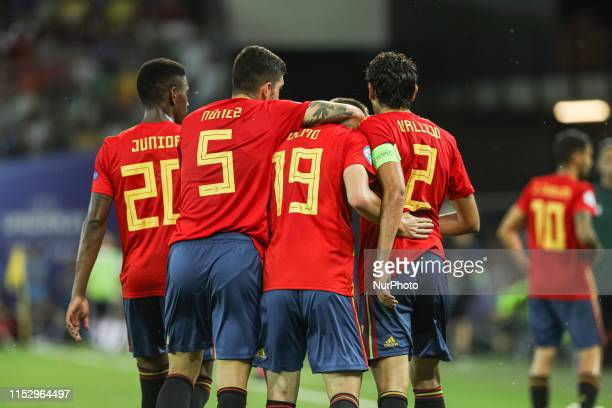 Daniel Olmo Carvajal of Spain U21, Hector Junior Firpo Adames of Spain U21, Unai Nunez of Spain U21 during the UEFA UNDER21 Championship match...