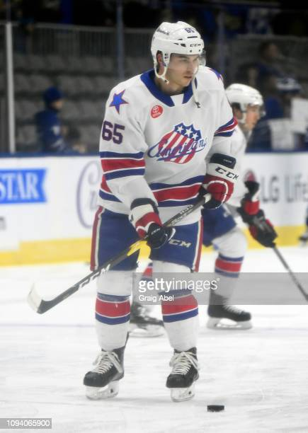 Daniel O'Regan of the Rochester Americans skates in warmup prior to a game against the Toronto Marlies on January 12 2019 at CocaCola Coliseum in...