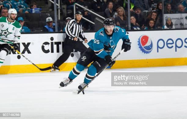 Daniel O'Regan of the San Jose Sharks skates against the Dallas Stars at SAP Center on February 18 2018 in San Jose California