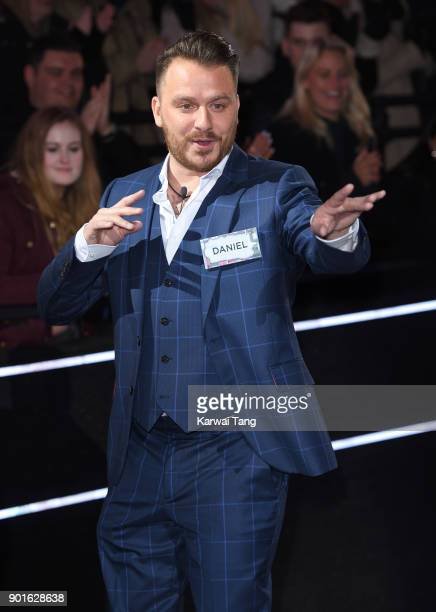 Daniel O'Reilly enters the Celebrity Big Brother house at Elstree Studios on January 5 2018 in Borehamwood England