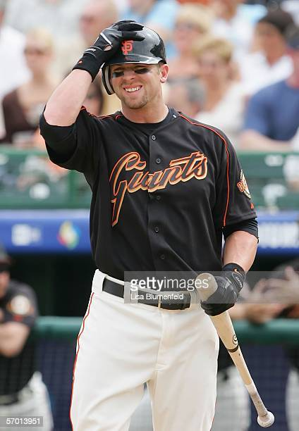 Daniel Ortmeier of the the San Francisco Giants is seen at bat during the game against the Los Angeles Angels of Anaheim at Scottsdale Stadium on...