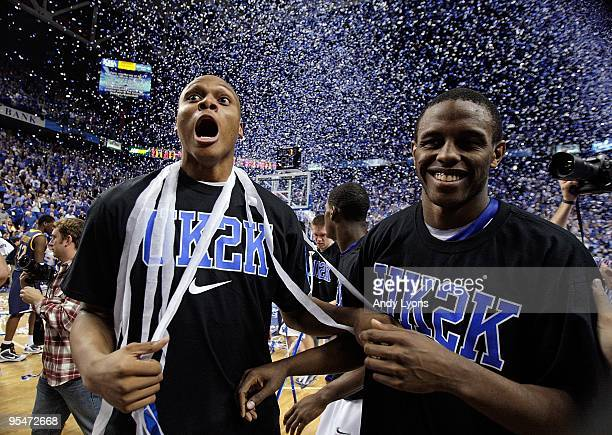 Daniel Orton Darius Miller of the Kentucky Wildcats celebrate following the 8844 victory over the Drexel Dragons at Rupp Arena on December 21 2009 in...