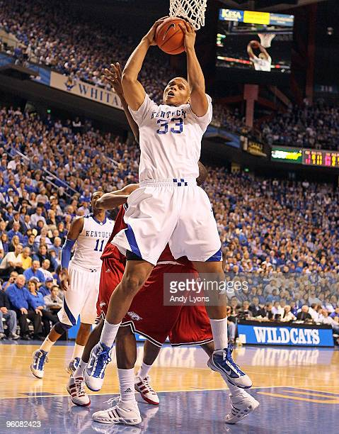 Daniel Orton of the Kentucky Wildcats grabs a rebound during the SEC game against the Arkansas Razorbacks on January 23, 2010 at Rupp Arena in...