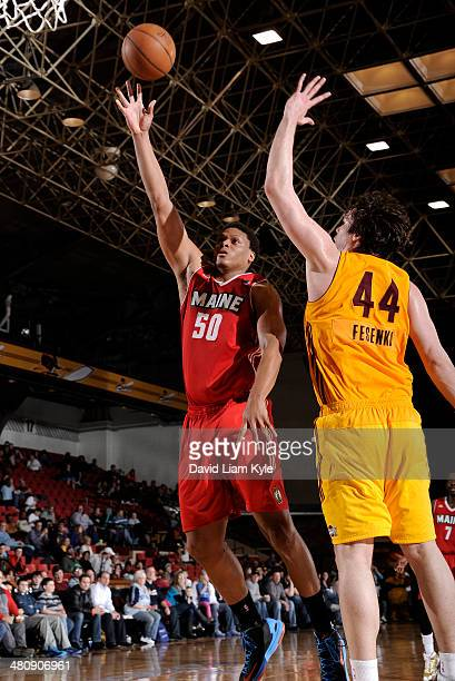 Daniel Orton of the Maine Red Claws shoots against Kyrylo Fesenko of the Canton Charge at the Canton Memorial Civic Center on March 26 2014 in Canton...