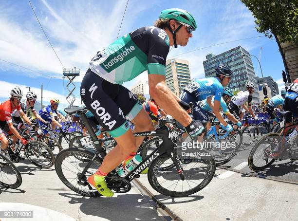 Daniel Oss of Italy and BoraHansgrohe competes during stage six of the 2018 Tour Down Under on January 21 2018 in Adelaide Australia