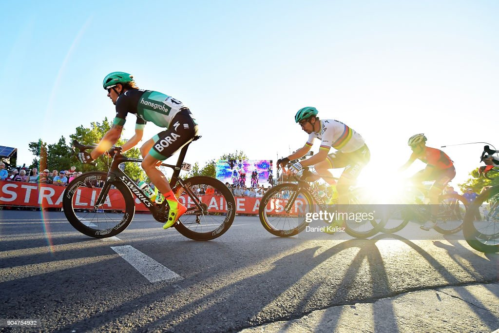 Daniel Oss of Italy and Bora-Hansgrohe leads Peter Sagan of Slovakia and Bora-Hansgrohe during the People's Choice Classic during the 2018 Tour Down Under on January 14, 2018 in Adelaide, Australia.