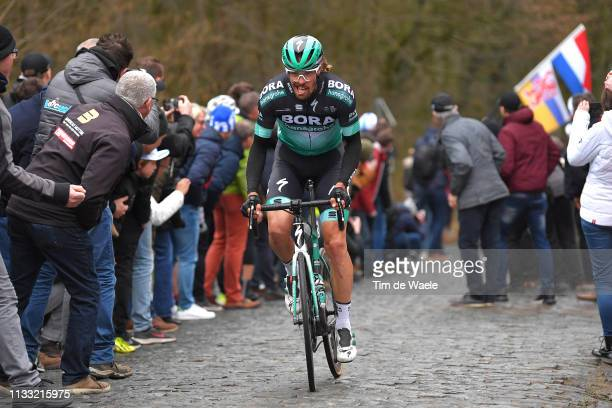 Daniel Oss of Italy and Team Bora - Hansgrohe / Bosberg / Cobblestones / Fans / Public / during the 74th Omloop Het Nieuwsblad 2019 a 200km race from...
