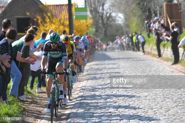 Daniel Oss of Italy and Team Bora - Hansgrohe / Cobblestones / Peloton / during the 62nd E3 Harelbeke 2019 a 203,9km race from Harelbeke to Harelbeke...