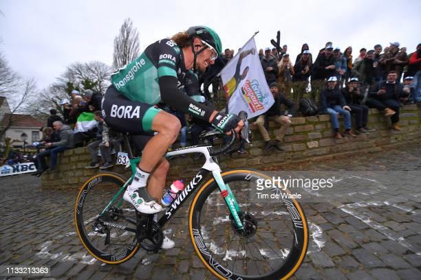 Daniel Oss of Italy and Team Bora - Hansgrohe / Wall of Geraardsbergen / De Muur / Fans / Public / during the 74th Omloop Het Nieuwsblad 2019 a 200km...