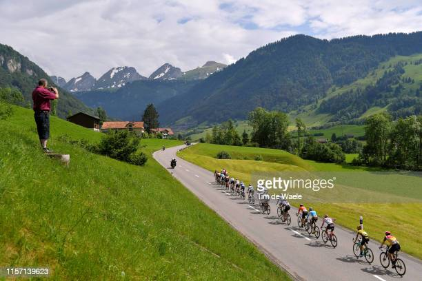 Daniel Oss of Italy and Team Bora-Hansgrohe / Bert Jan Lindeman of The Netherlands and Team Jumbo - Visma / Antwan Tolhoek of The Netherlands and...