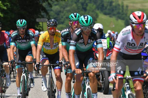 Daniel Oss of Italy and Team Bora-Hansgrohe / Peter Sagan of Slovakia and Team Bora-Hansgrohe Yellow Leader Jersey / Maciej Bodnar of Poland and Team...