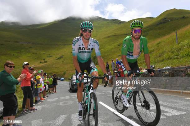 Daniel Oss of Italy and Team Bora-Hansgrohe / Peter Sagan of Slovakia and Team Bora-Hansgrohe Green Sprint Jersey / during the 106th Tour de France...