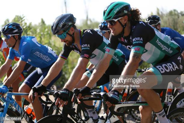 Daniel Oss of Italy and Team Bora-Hansgrohe / Peter Sagan of Slovakia and Team Bora-Hansgrohe / Nelson Oliveira of Portugal and Movistar Team /...