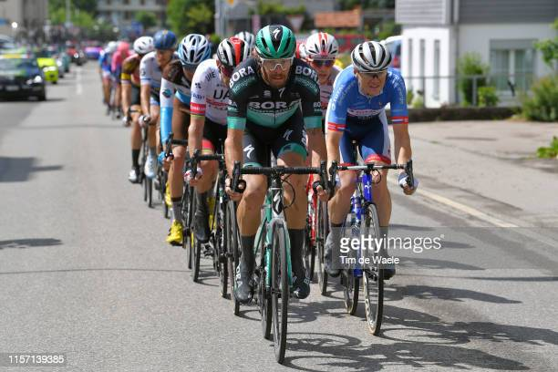 Daniel Oss of Italy and Team Bora-Hansgrohe / Pim Ligthart of The Netherlands and Team Total Direct Energie / Peloton / during the 83rd Tour of...
