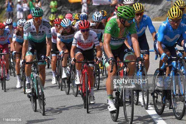 Daniel Oss of Italy and Team BoraHansgrohe / Richie Porte of Australia and Team TrekSegafredo / Peter Sagan of Slovakia and Team BoraHansgrohe Green...