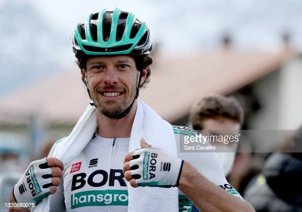 Daniel Oss of Italy and team Bora-Hansgrohe smiles at the end of the stage during the 104th Giro d'Italia 2021, Stage 20 a 164km stage from Verbania...