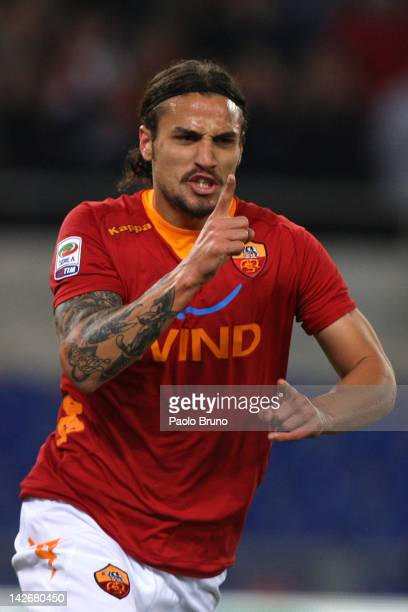 Daniel Osvaldo of AS Roma celebrates after scoring the opening goal during the Serie A match between AS Roma and Udinese Calcio at Stadio Olimpico on...