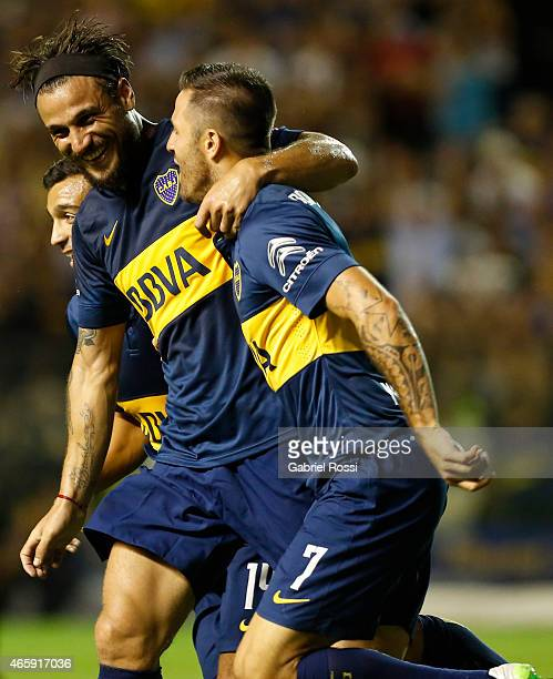Daniel Osvaldo of Boca Juniors and teammates celebrate their team's fourth goal during a match between Boca Juniors and Zamora as part of third round...