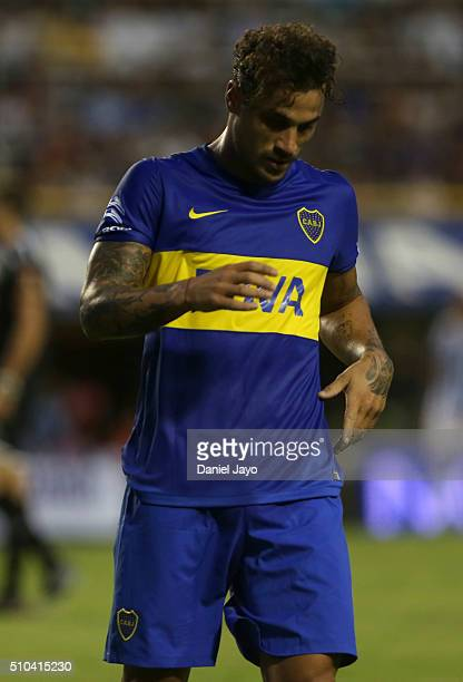 Daniel Osvaldo of Boca Juniors gestures during a match between Boca Juniors and Atletico Tucuman as part of second round of Torneo Transicion 2016 at...