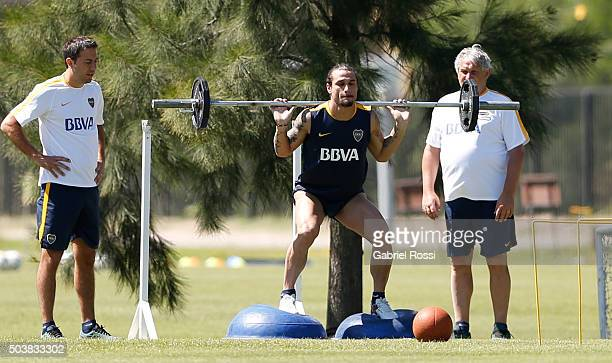 Daniel Osvaldo of Boca Juniors in action during Boca Juniors Training Session at Sofitel Cardales Hotel on January 07 2016 in Los Cardales Argentina