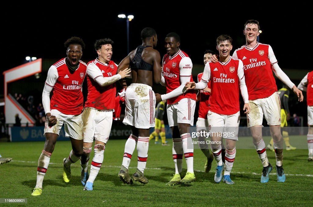 Daniel Oyegoke Of Arsenal Fc And His Team Mates Celebrates Their News Photo Getty Images