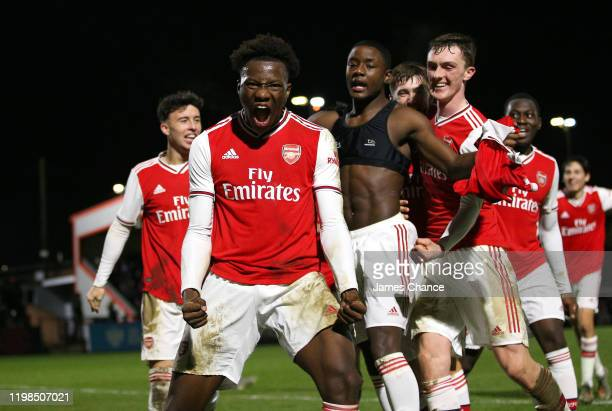 Daniel Oyegoke of Arsenal FC celebrates his sides first goal which was scored by Matthew Dennis of Arsenal during the FA Youth Cup Fourth Round match...