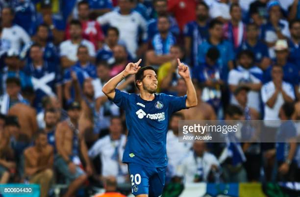 Daniel Pacheco of Getafe CF celebrates after scoring the third goal for Getafe during La Liga 2 play off round between Getafe and CD Tenerife at...