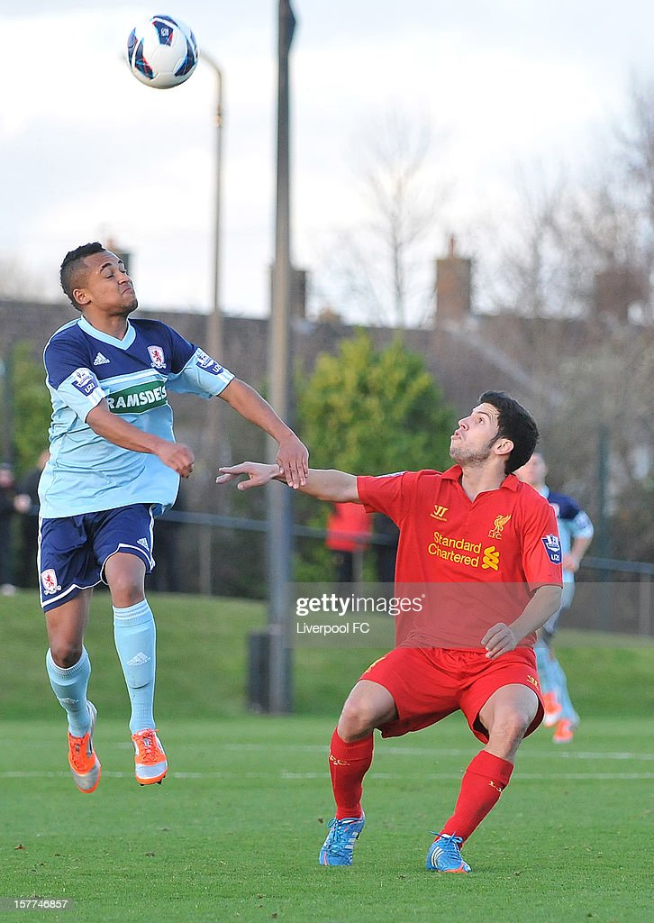 Daniel Pacheco of Liverpool (R) in action during U21 Barclays Premier League match between Liverpool U21 and Middlesbrough U21 at The Academy on November 23, 2012 in Liverpool, England.