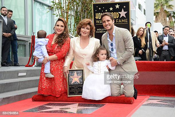Daniel Padron actress Angelica Vale singer Angelica Maria Angelica Padron and actor Diego Boneta attend a ceremony honoring Angelica Maria with a...