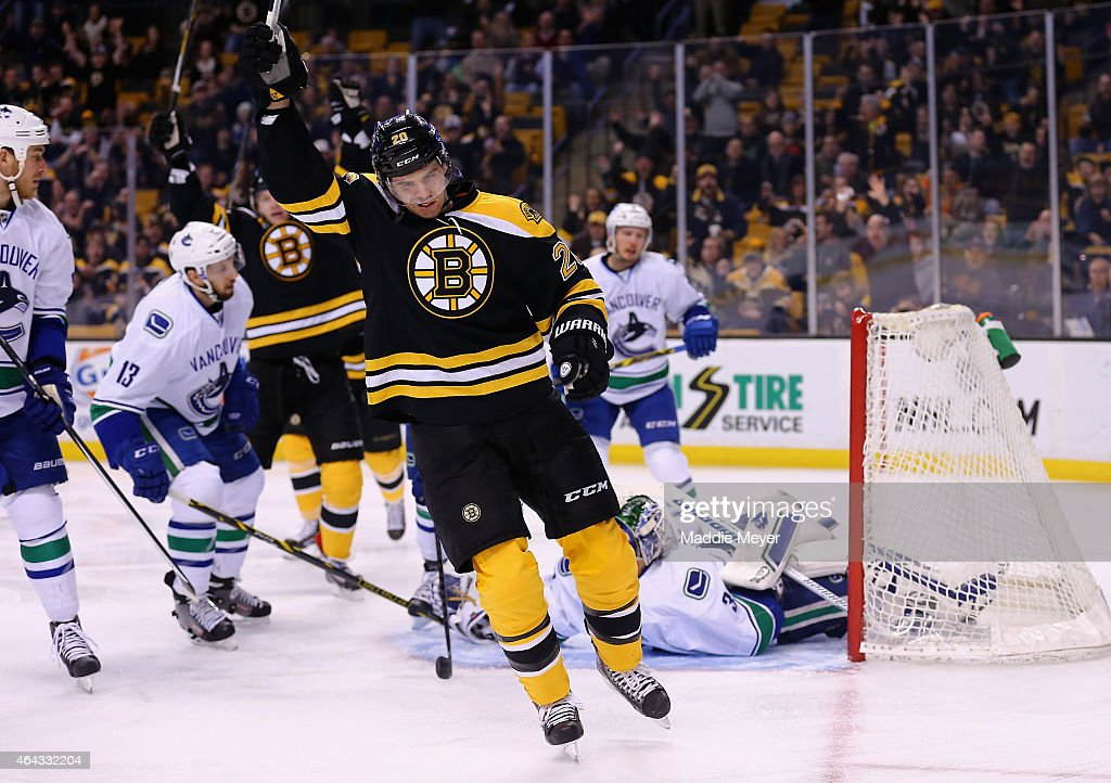 Daniel Paille #20 of the Boston Bruins celebrates his goal in the first period against the Vancouver Canucks at TD Garden on February 24, 2015 in Boston, Massachusetts.