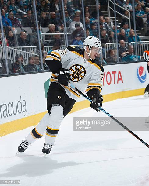 Daniel Paille of the Boston Bruins handles the puck against the San Jose Sharks during an NHL game on December 4, 2014 at SAP Center in San Jose,...