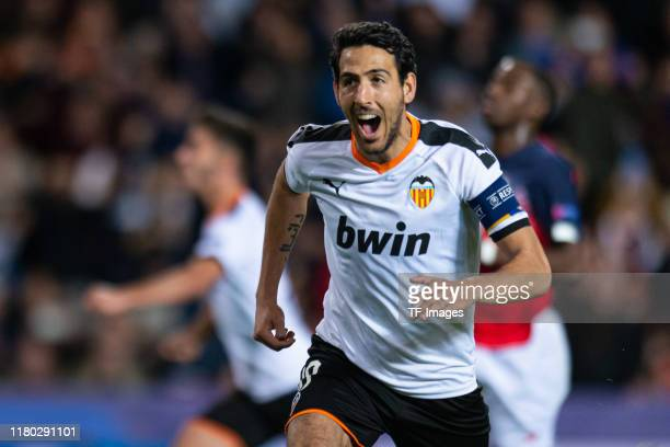 Daniel Parejo of FC Valencia celebrates his team's first goal during the UEFA Champions League group H match between Valencia CF and Lille OSC at...