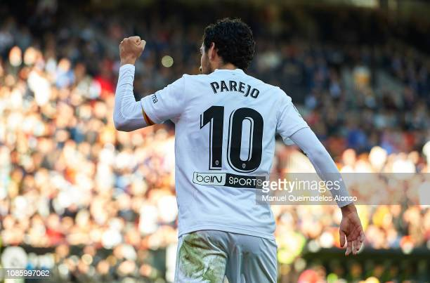 Daniel Parejo of Valencia celebrates after scoring his sides first goal during the La Liga match between Valencia CF and SD Huesca at Estadio...