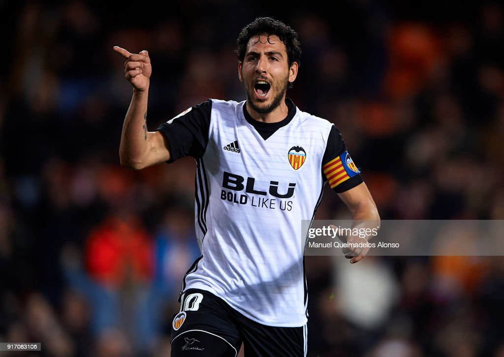 Daniel Parejo of Valencia celebrates after scoring his sides third goal during the La Liga match between Valencia and Levante at Mestalla Stadium on February 11, 2018 in Valencia, Spain.