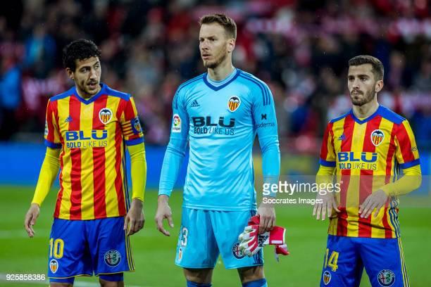 Daniel Parejo of Valencia CF Neto of Valencia CF Jose Gaya of Valencia CF during the La Liga Santander match between Athletic de Bilbao v Valencia at...