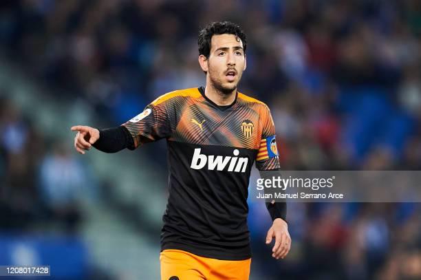 Daniel Parejo of Valencia CF reacts during the Liga match between Real Sociedad and Valencia CF at Estadio Anoeta on February 22 2020 in San...