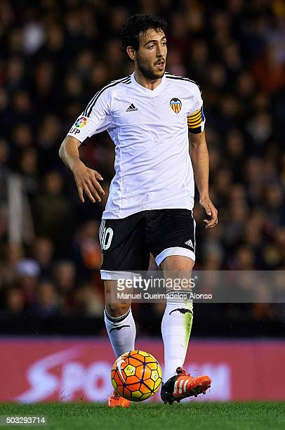 Daniel Parejo of Valencia in action during the La Liga match between Valencia CF and Real Madrid CF at Estadi de Mestalla on January 03 2016 in...