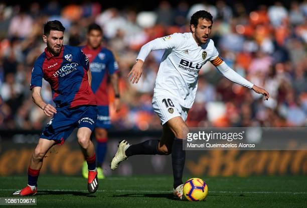 Daniel Parejo of Valencia runs with the ball during the La Liga match between Valencia CF and SD Huesca at Estadio Mestalla on December 23 2018 in...